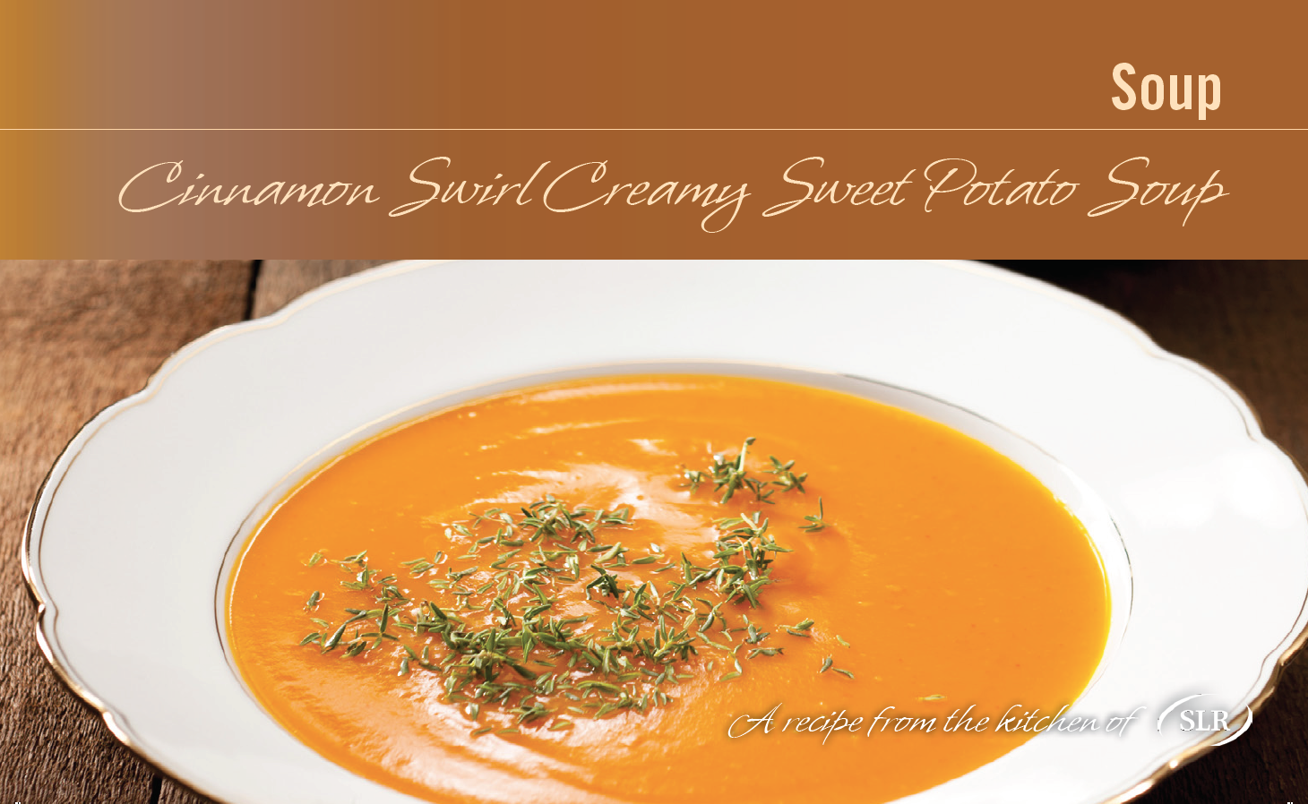 Cinnamon Swirl Creamy Sweet Potato Soup recipe card