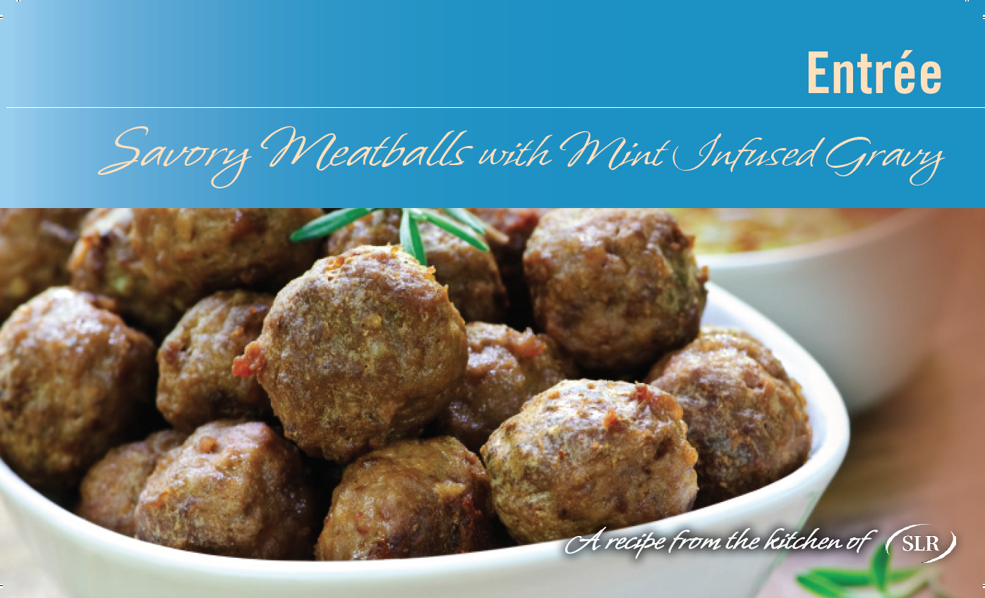 Savory Turkey Meatballs with Mint Infused Gravy recipe card
