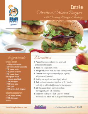 Tandoori Chicken Burgers with Creamy Mango Chutney recipe card