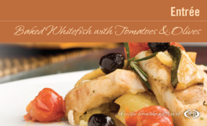 Baked Whitefish with Tomatoes & Olives recipe card