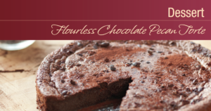 Sugar Free Flourless Chocolate Pecan Torte recipe card