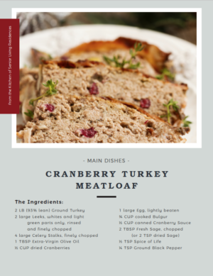 Cranberry Turkey Meatloaf recipe card