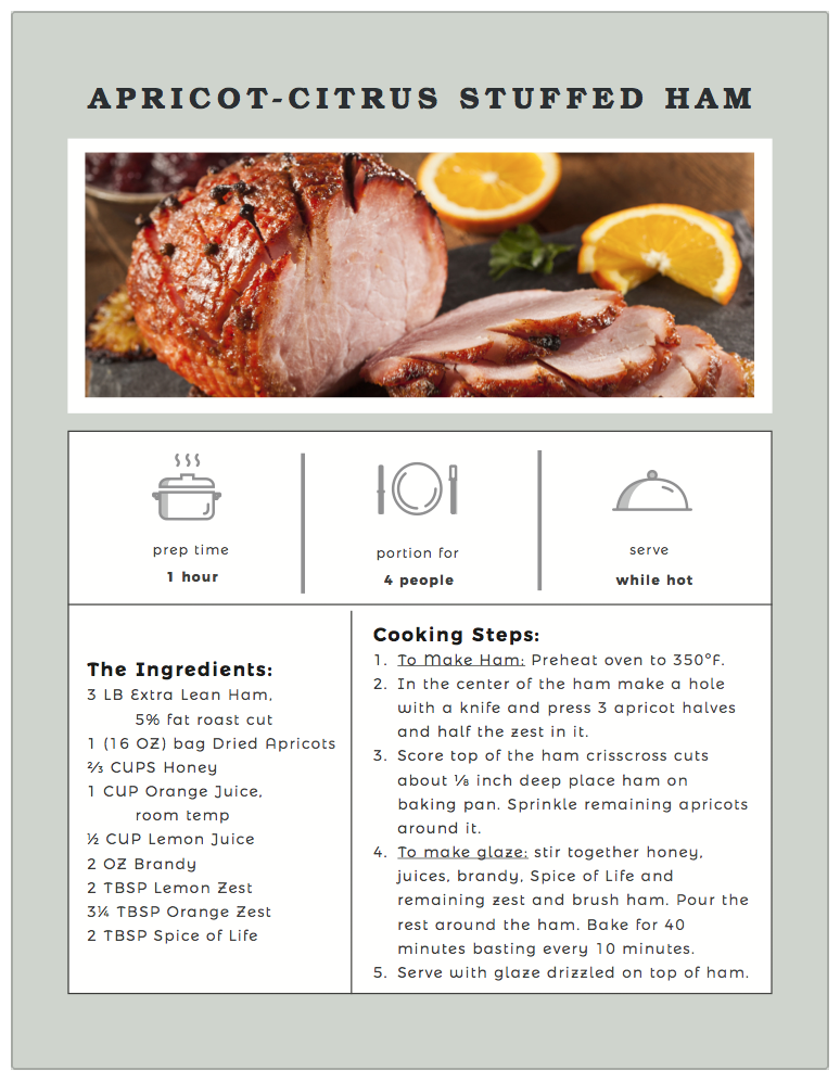 Apricot-Citrus Stuffed Ham recipe card