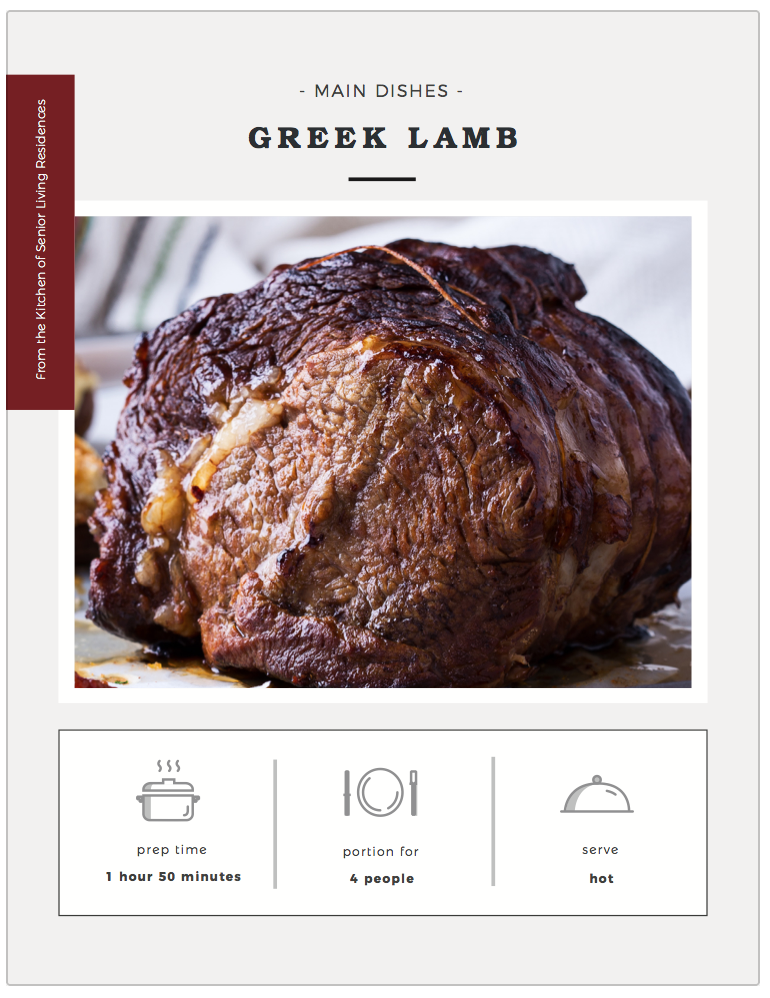 Greek Lamb recipe card