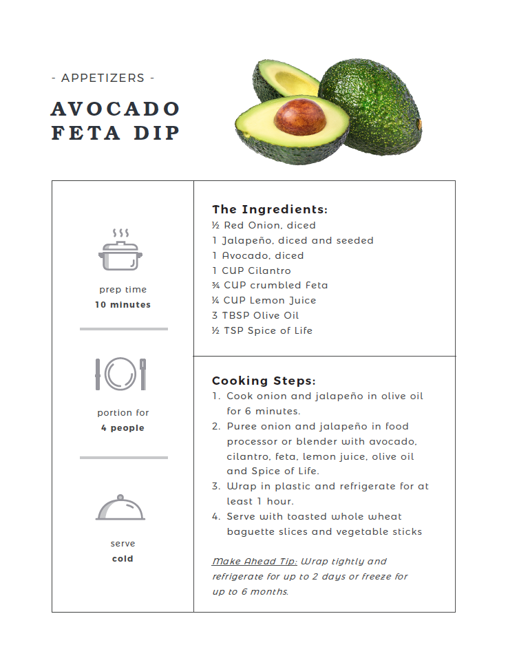Avocado Feta Dip recipe card