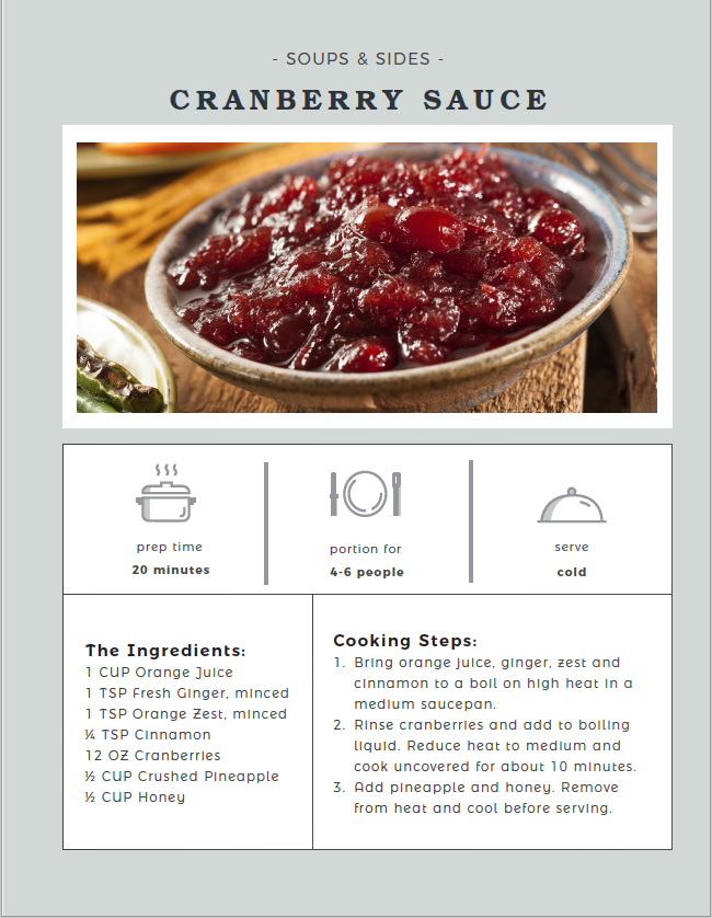 Cranberry Sauce recipe card