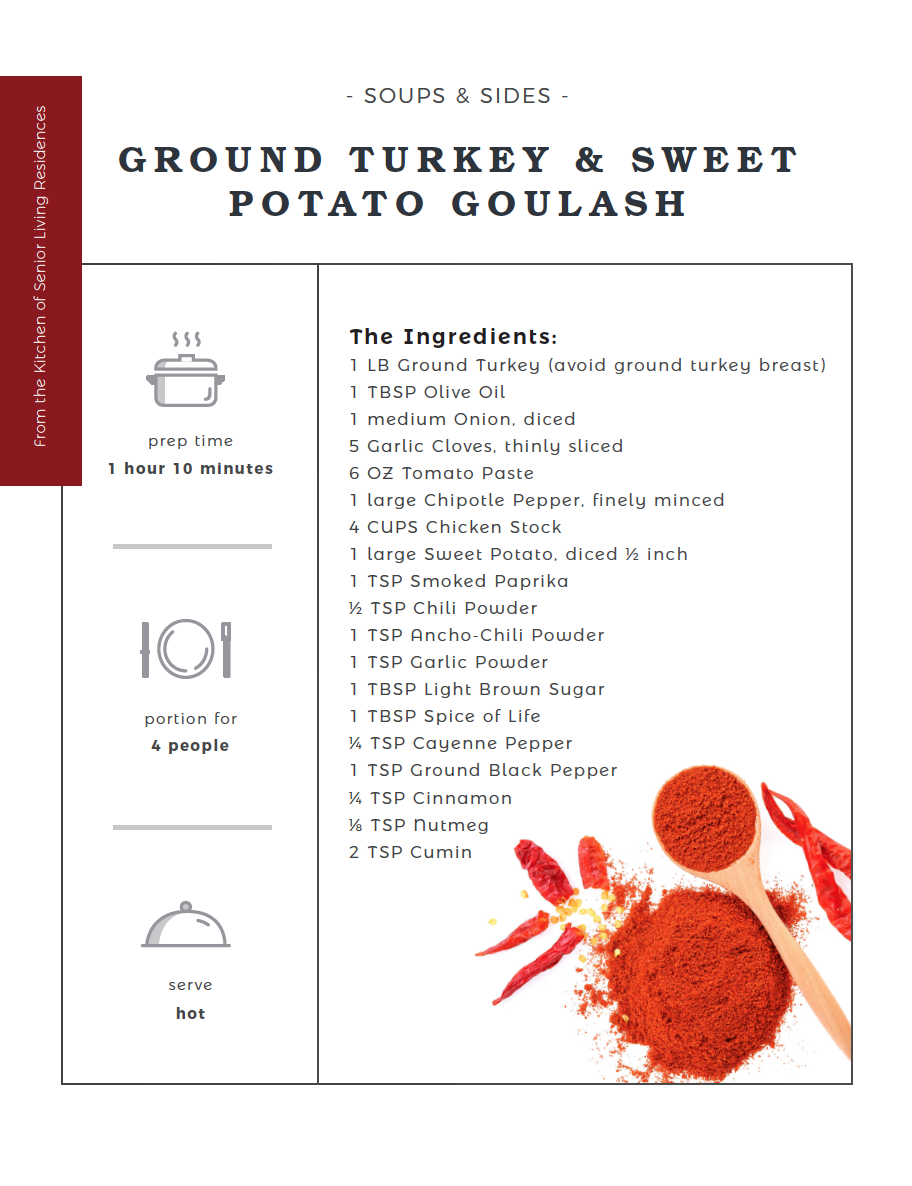 Ground Turkey and Sweet Potato Goulash recipe card