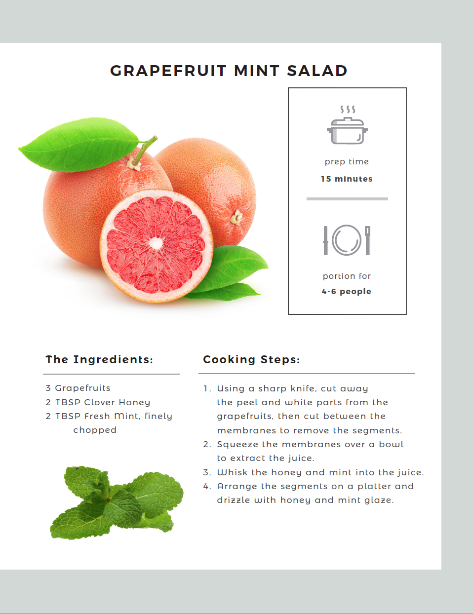 Grapefruit Mint Salad recipe card