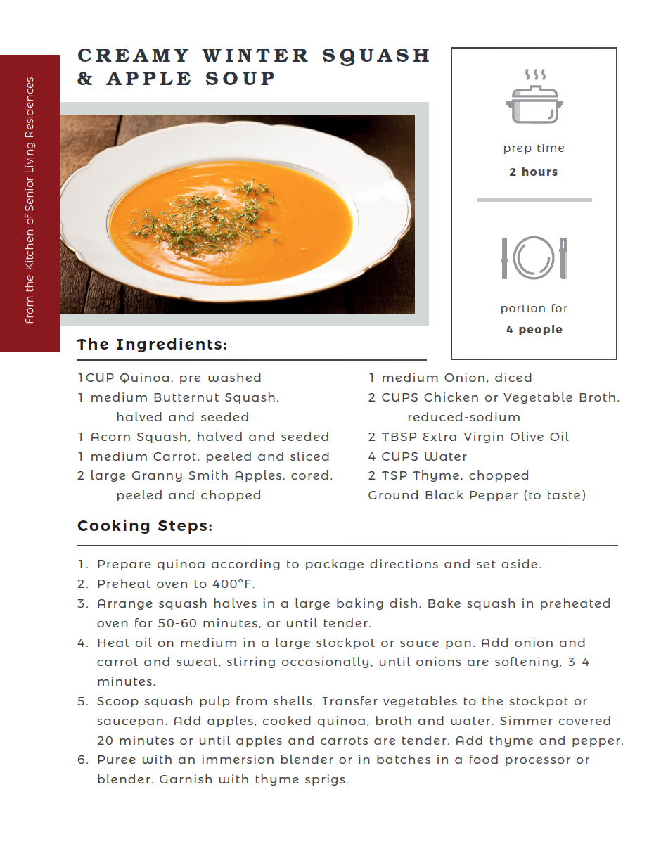 Creamy Winter Squash and Apple Soup recipe card