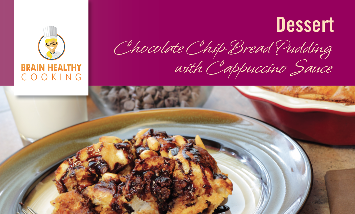 Chocolate Chip Bread Pudding with Cappuccino Sauce recipe card