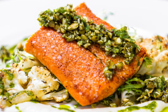 Oven Baked Salmon with Almond Parsley Salsa