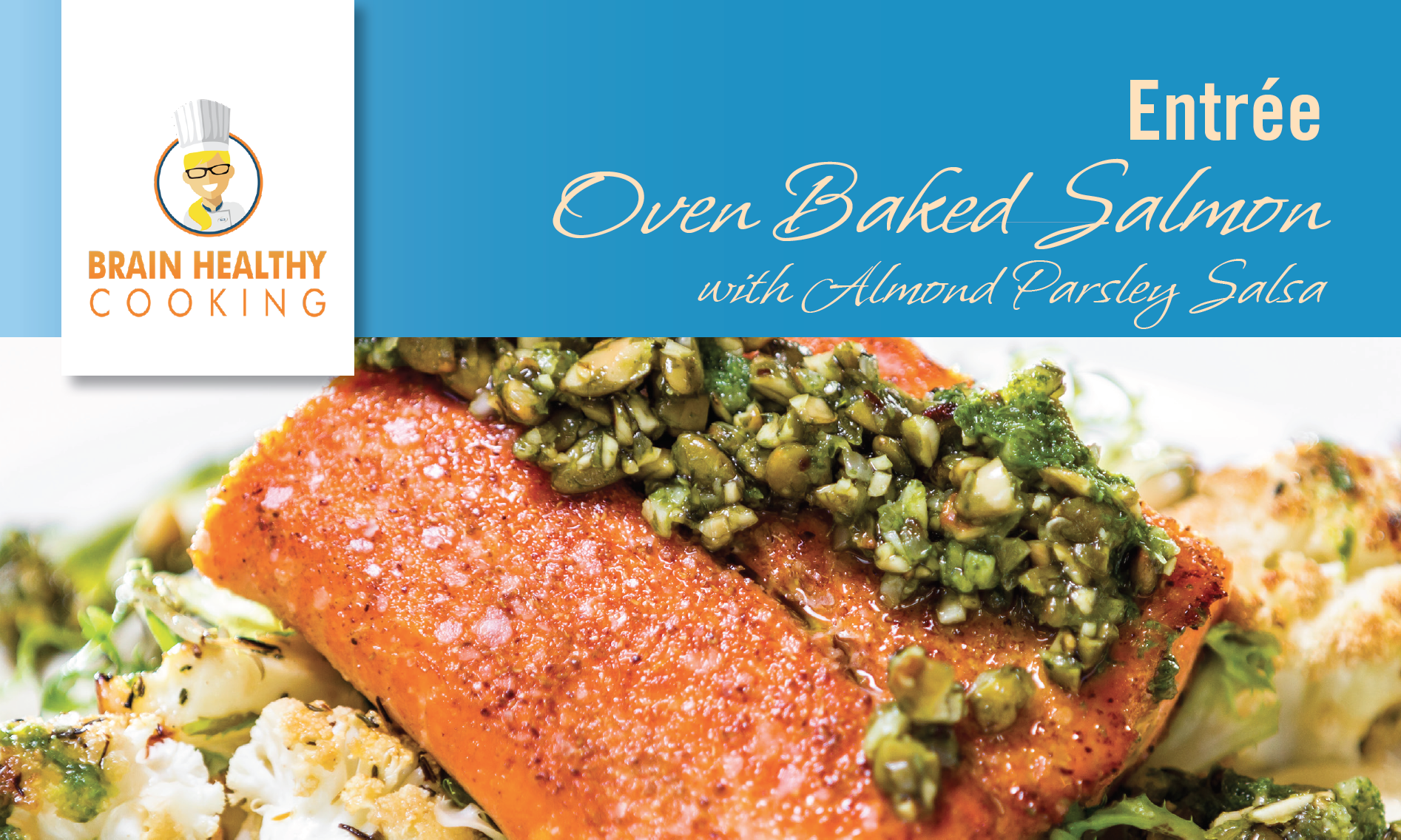 Oven Baked Salmon with Almond Parsley Salsa recipe card