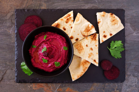 Creamy Beet Hummus with Blue Cheese & Walnuts